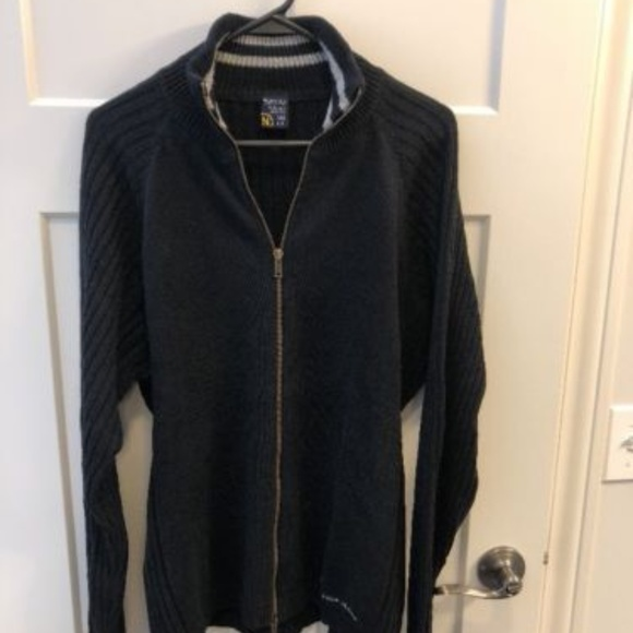 Nautica Mens Black Cable Knit Sweater Zip Large Poshmark
